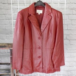Currant Red Leather Long Blazer Coat Jacket